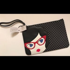 LULU Guinness wristlet doll face glasses grace